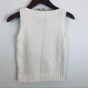 LRL White Knit Sleeveless Sweater Top High Neck S
